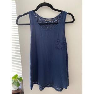 Navy blue lacey back tank top